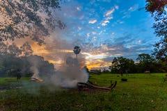 fuego de la quemadura del granjero para hacer que el humo para protege su búfalo fotografía de archivo