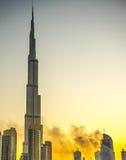 Fuego 2016 de los Años Nuevos de Dubai Foto de archivo libre de regalías