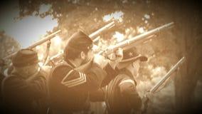 Fuego de los soldados de la guerra civil de las rondas (versión de la cantidad del archivo) metrajes