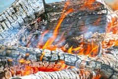 Fuego de madera Imagen de archivo libre de regalías