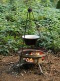 Fuego de madera al aire libre. Foto de archivo