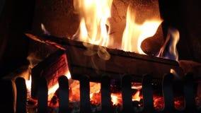 Fuego de madera caliente acogedor almacen de video
