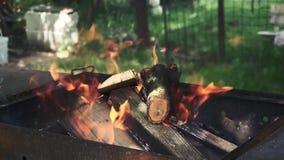 Fuego de madera para la barbacoa en el jardín almacen de metraje de vídeo