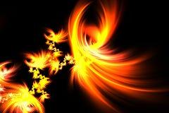 Fuego de oro del fractal abstracto en un fondo negro Fotografía de archivo