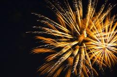 Fuego de oro en el cielo Foto de archivo libre de regalías