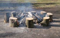 Fuego de registro de madera. Imagen de archivo libre de regalías