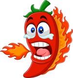 Fuego de respiración de la pimienta de chile de la historieta stock de ilustración