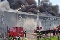Fuego de Warehouse Imágenes de archivo libres de regalías
