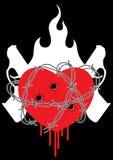 Fuego del barbwire del arma del corazón Fotos de archivo libres de regalías