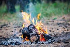 Fuego del campo en prado Foto de archivo libre de regalías