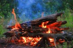 Fuego del campo en prado Fotografía de archivo