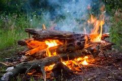 Fuego del campo en prado verde Imagenes de archivo
