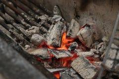Fuego del carbón de leña Imagen de archivo