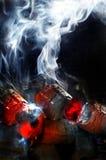 Fuego del carbón de leña con el humo blanco
