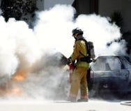 Fuego del coche Foto de archivo