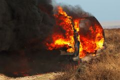 Fuego del coche imágenes de archivo libres de regalías