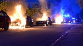 Fuego del coche Imagenes de archivo