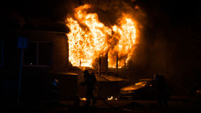 Fuego del edificio Foto de archivo libre de regalías