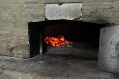 Fuego del horno de la pizza Fotos de archivo