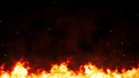 Fuego del infierno con las chispas y humo, fuego del infierno que se consume, combustible intenso que se arde para la composición ilustración del vector