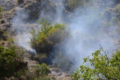 Fuego del verano, Italia del sur Imagen de archivo