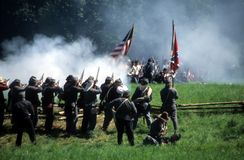 Fuego del voleo de los confederatos Imagen de archivo libre de regalías
