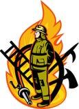Fuego derecho del bombero del bombero Fotografía de archivo