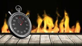 Fuego detrás del cronómetro ilustración del vector