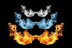 Fuego e hielo, llama del fuego y humo en negro ilustración del vector