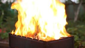 Fuego en barbacoa almacen de metraje de vídeo