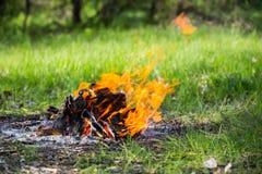 Fuego en campo turístico en prado del verano Imágenes de archivo libres de regalías