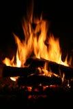 Fuego en chimenea Foto de archivo