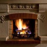 Fuego en chimenea Imagen de archivo