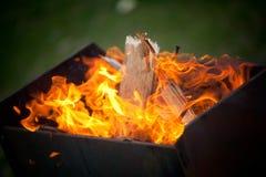 Fuego en el brasero Foto de archivo