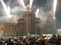 Fuego en el castillo Imagen de archivo