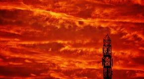 Fuego en el cielo Foto de archivo libre de regalías
