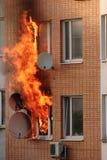 Fuego en el edificio Imagenes de archivo