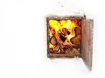 Fuego en el horno fotos de archivo