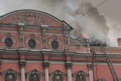 Fuego en el palacio Fotos de archivo libres de regalías