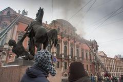 Fuego en el palacio Imágenes de archivo libres de regalías