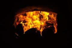 Fuego en horno Foto de archivo