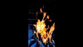 Fuego en la chimenea almacen de metraje de vídeo