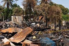 Fuego en la ciudad Imagen de archivo libre de regalías