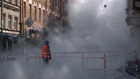 Fuego en la ciudad Fuego fuerte Humo grande almacen de metraje de vídeo