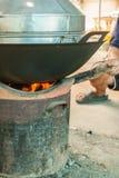 Fuego en la estufa Foto de archivo libre de regalías