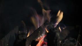 Fuego en la parrilla almacen de metraje de vídeo