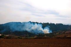 Fuego en las montañas en el bosque Imagen de archivo libre de regalías