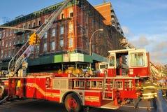 Fuego en New York City Imágenes de archivo libres de regalías