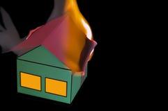 Fuego en una casa Fotografía de archivo