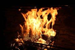 Fuego en una parrilla Fotografía de archivo